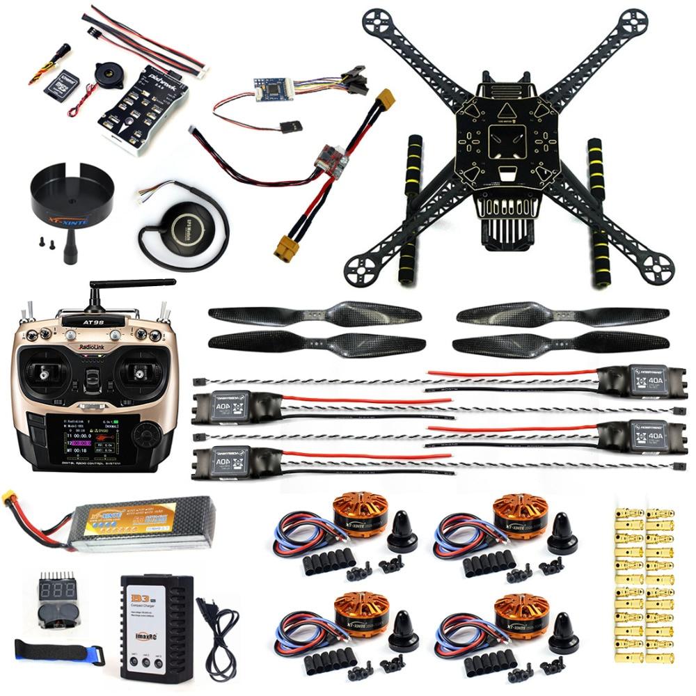 Full Set DIY FPV Drone S600 4 axis Aerial Quadcopter w/ Pix2.4.8 Flight Control GPS 7M 40A ESC 700kv Motor AT9S TX RX Battery