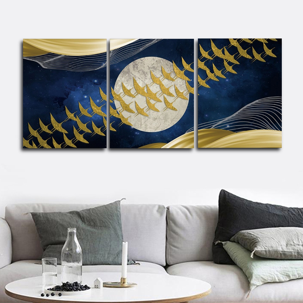 Golden Moon Nordic Wall Pictures Poster Print Canvas Painting Calligraphy Decor for Living Room Bedroom Home Decor Frameless in Painting Calligraphy from Home Garden