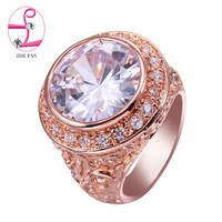 ZHE FAN Rose Gold Plated Rings For Women Engagement Gift Luxury Round Ring Classic Accessories AAAA