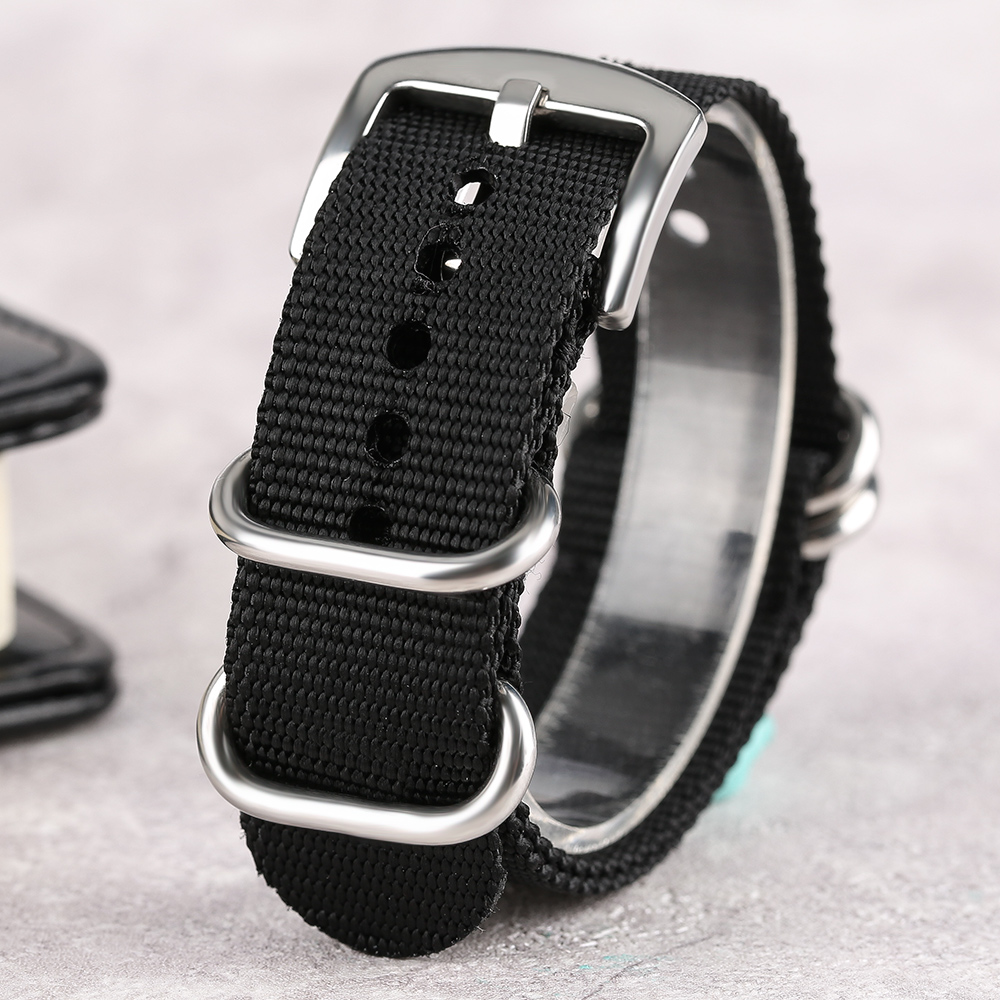 20mm/22mm/24mm Watch Strap Band Sport Military Replacement Nylon Silver Steel Pin Buckle Black High Quality Watch Accessories high quality 20 22 24mm military nylon army green soft belt bracelet replacement pin buckle sport outdoor watch strap band