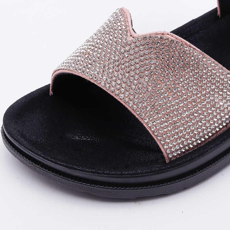ฤดูร้อน 2019 เด็กใหม่รองเท้าแตะรองเท้าแตะรองเท้าเด็กผู้หญิงรองเท้าเด็กชายหาดรองเท้าแตะ Rhinestone รองเท้าแตะสีชมพูยี่ห้อรองเท้า