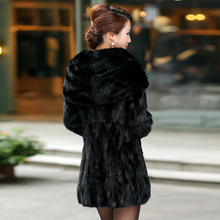 Natural Real Piece mink fur coat  with hood Womens Genuine Mink Fur Jacket Outwear