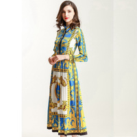 2018 Spring New Long Sleeve Leopard Printed Pleated Long Dress 180124YL01