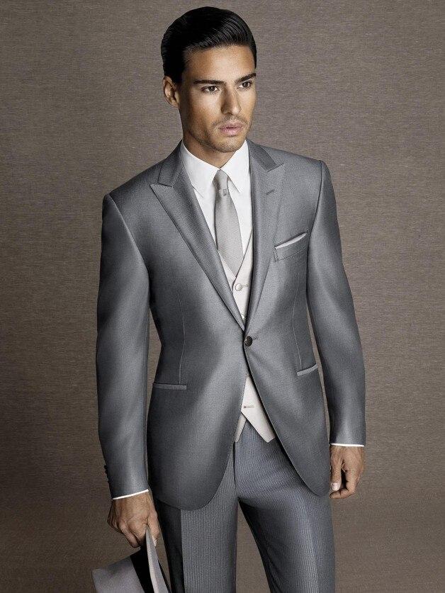 2017 Latest Coat Pant Designs Silver Grey Satin Men Suit Formal Skinny Stylish Blazer Custom ...