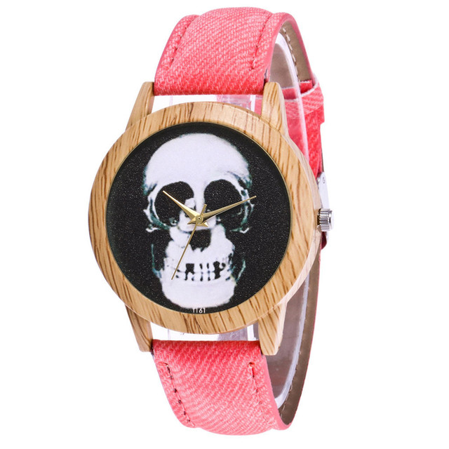 Skull Printed Women's Black Quartz Wristwatches Casual Leather Strap Watchband Analog Quartz Round Watch Vintage Dropshipping 2