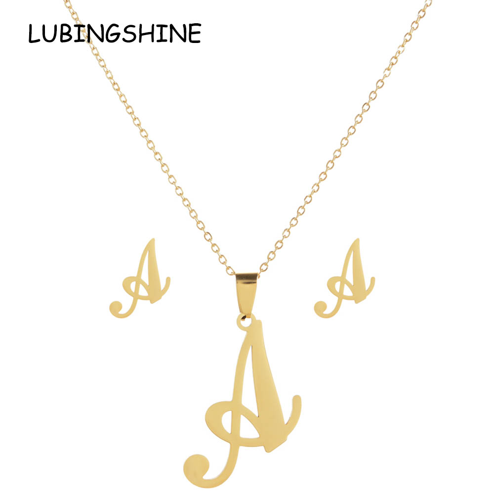 LUBINGSHINE Luxury 26 Letters Stainless Steel Gold Color Necklace Earrings Women Alfabet Initial Bridal Wedding Jewelry Sets necklace