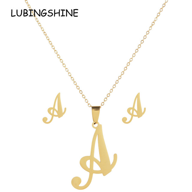 LUBINGSHINE Luxury 26 Letters Stainless Steel Gold Color Necklace Earrings Women Alfabet Initial Bridal Wedding Jewelry Sets