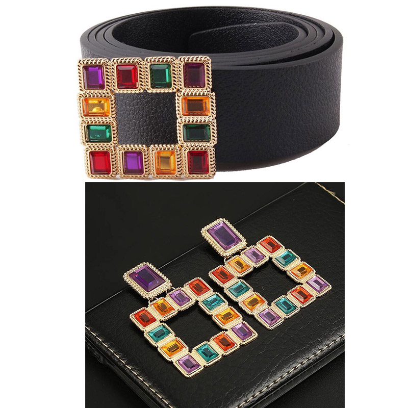Colorful gemstone trend new   belt   + square earrings color crystal retro earrings