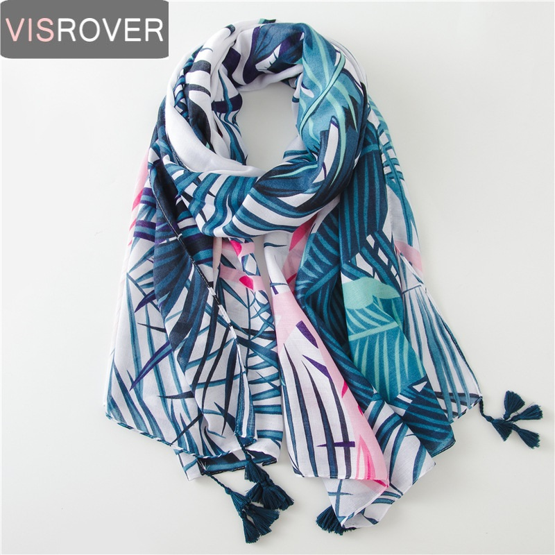 VISROVER Tropical Print Scarf With Tassel Fashion Summer Viscose Cactus Scarf Shawl Women Flamingo Lady Beach Boho Kawii Scarves