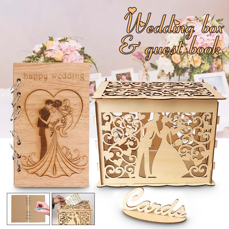 Wedding Gift Boxes: DIY Couple Wedding Guest Book Wooden Wedding Gift Card Box