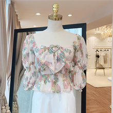 HOHE QUALITÄT Neueste Mode Sommer 2019 Runway Designer Hemd frauen Quadrat Kragen Charming Floral Print Pailletten Bluse Hemd