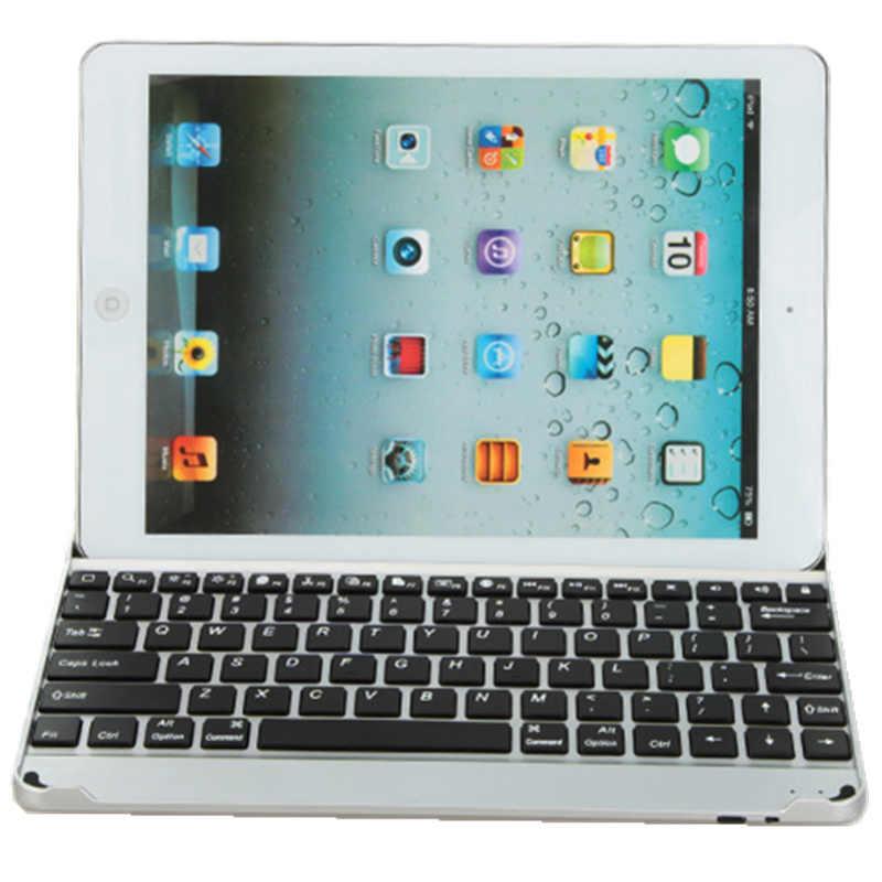 Kemile Wireless Bluetooth 3.0 Logam Aluminium Keyboard Untuk Apple iPad 2/3/4 + protector layar & Touch pena