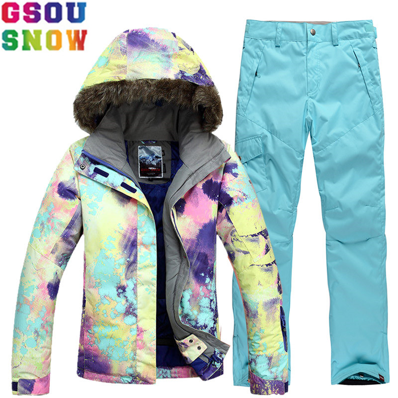 GSOU SNOW Brand Ski Suit Women Winter Skiing Jacket Snowboarding Pants Waterproof Coat Female Snow Suits Outdoor Sports Clothing gsou snow waterproof ski jacket women snowboard jacket winter cheap ski suit outdoor skiing snowboarding camping sport clothing