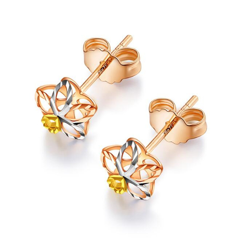 100 Pure 18K Gold Flower Stud Earrings For Women bijoux Hollow 2018 New Spring Summer Hot Selling Trendy Jewelry Wholesale in Earrings from Jewelry Accessories