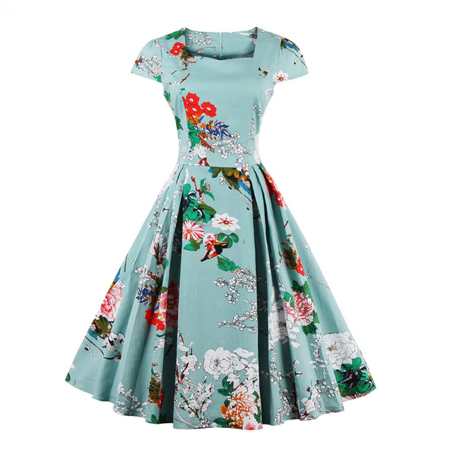 4826c3e1bd US $15.58 49% OFF|Kenancy Plus Size 4XL Cotton Stretchy Vintage Floral  Dress Women 60s Audrey Retro Rockabilly Swing Elegance Feminino Vestidos-in  ...