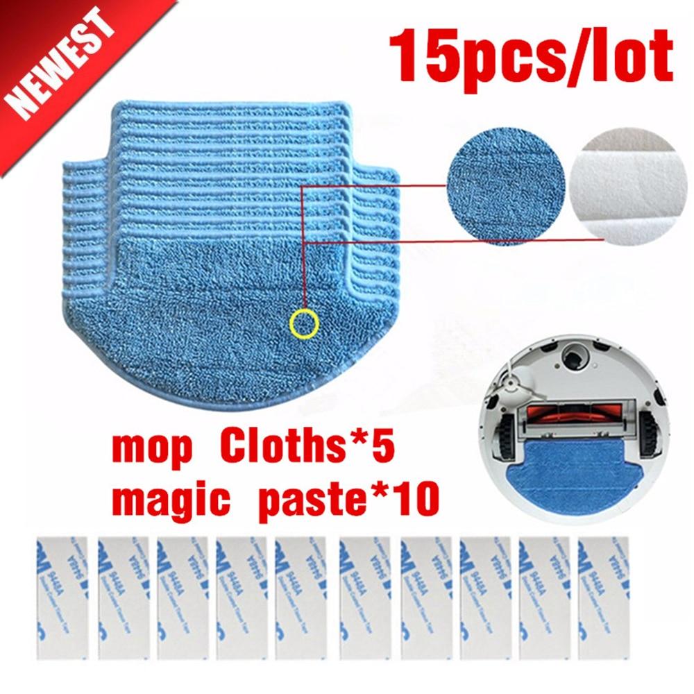 15pcs/set Original Thickness Xiaomi Mi Robot Vacuum Cleaner Mop Cloths Parts Kit(mop Cloths*5+magic Paste*10) Filter Accessories