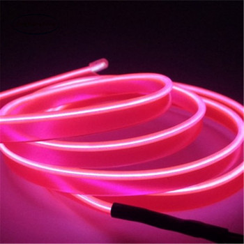 1-5 M Car interior lights led wire rope tube line flexible neon light glow el salon flat strip car decoration with 12v inverter image