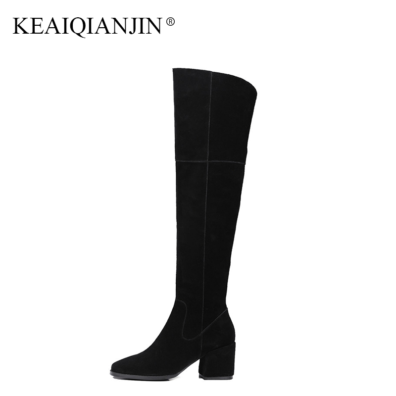 KEAIQIANJIN Woman Genuine Leather Over The Knee Boots Black Autumn Winter Square Toe Shoes Genuine Leather Knee High Boots 2018 keaiqianjin black high heeled shoes autumn winter rivet lace up knee high boots woman genuine leather over the knee boots 2018