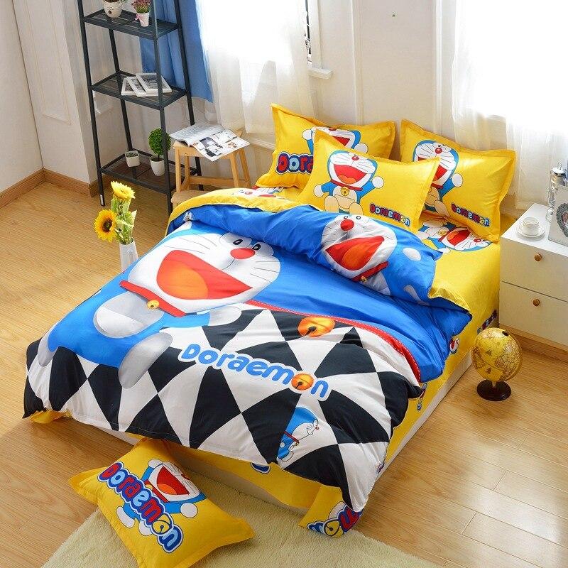 Cartoon lovely doraemon Japanese British style 4pcs/3pcs Duvet Cover Sets Soft Polyester Bed Linen Flat Bed Sheet Set Pillowcase