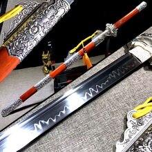 Clay Tempered Super Sharp Chinese Tang Dynasty Saber T10 Steel Full Tang RedWood Saya Handmade Real Dao Sword Katana