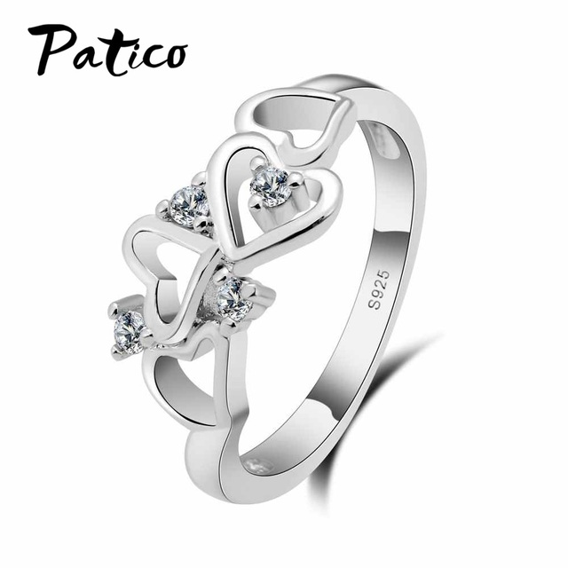 PATICO AAA Zircon Crystal Heart Love Wedding Ring for Women Ladies Girls S90 Sil