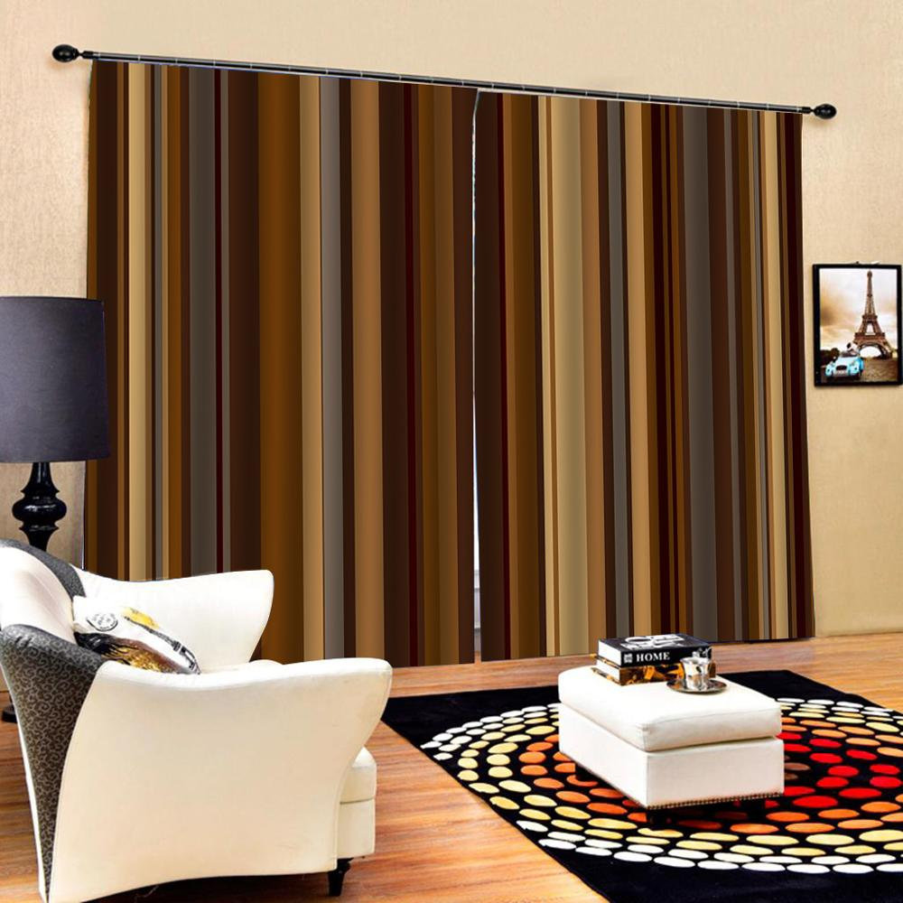 Stripe Curtain Luxury Blackout 3d Window Curtains For Living Room