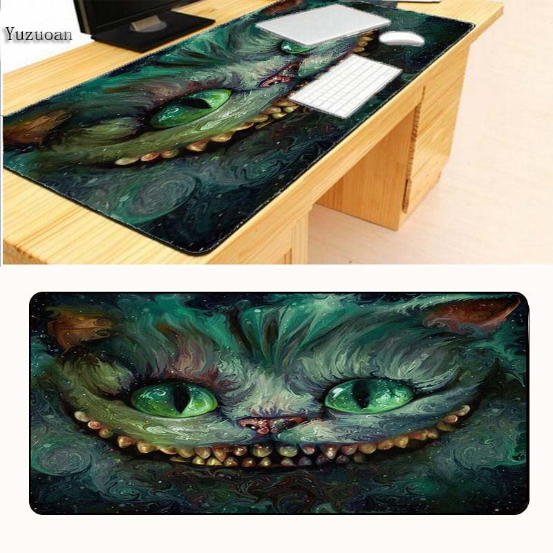 Yuzuoan Cute Cheshire Cat Cartoon Painting Custom Rectangle Optical Large Overlock Mouse Pad Gaming Computer Rubber Mousepad ...