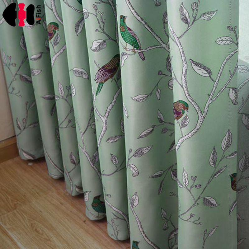 Blue Bird Printed Kid Room Drapes Wedding Window Treatment Set Of Curtains Fabric With Tulle Blackout Curtains WP128B