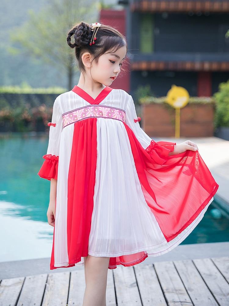 Filles costume style chinois dreas 2019 nouvelle robe petite fille robe d'été robe de princesse costumes marée