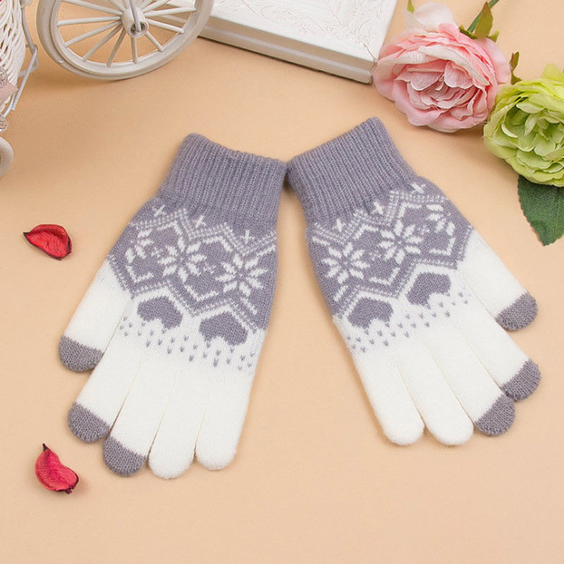 Winter Touch Screen Female Gloves Mittens For Women Christmas Snowflake Full/Half Finger Mitts Wrist Gloves Gants Femme Hiver