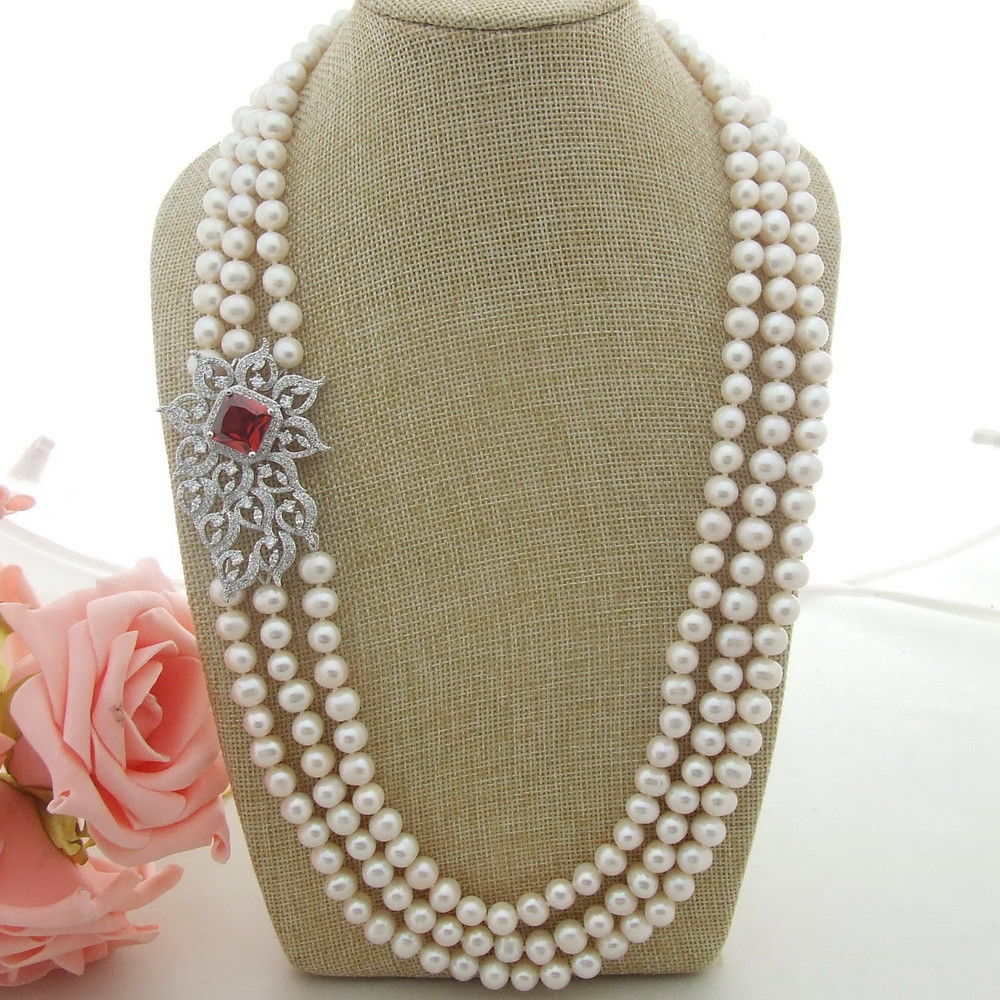 N041307 3Strands 25-27 White Pearl Necklace CZ ConnectorN041307 3Strands 25-27 White Pearl Necklace CZ Connector