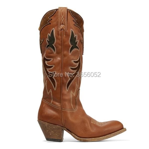 Pic Mi Pointu As Talon Cubain Cowboy Vintage Chunky Western Chaussures Brun Mujer Slip mollet Sur En Bout Qianruiti Botas Bottes Broderie Cuir qS1gt