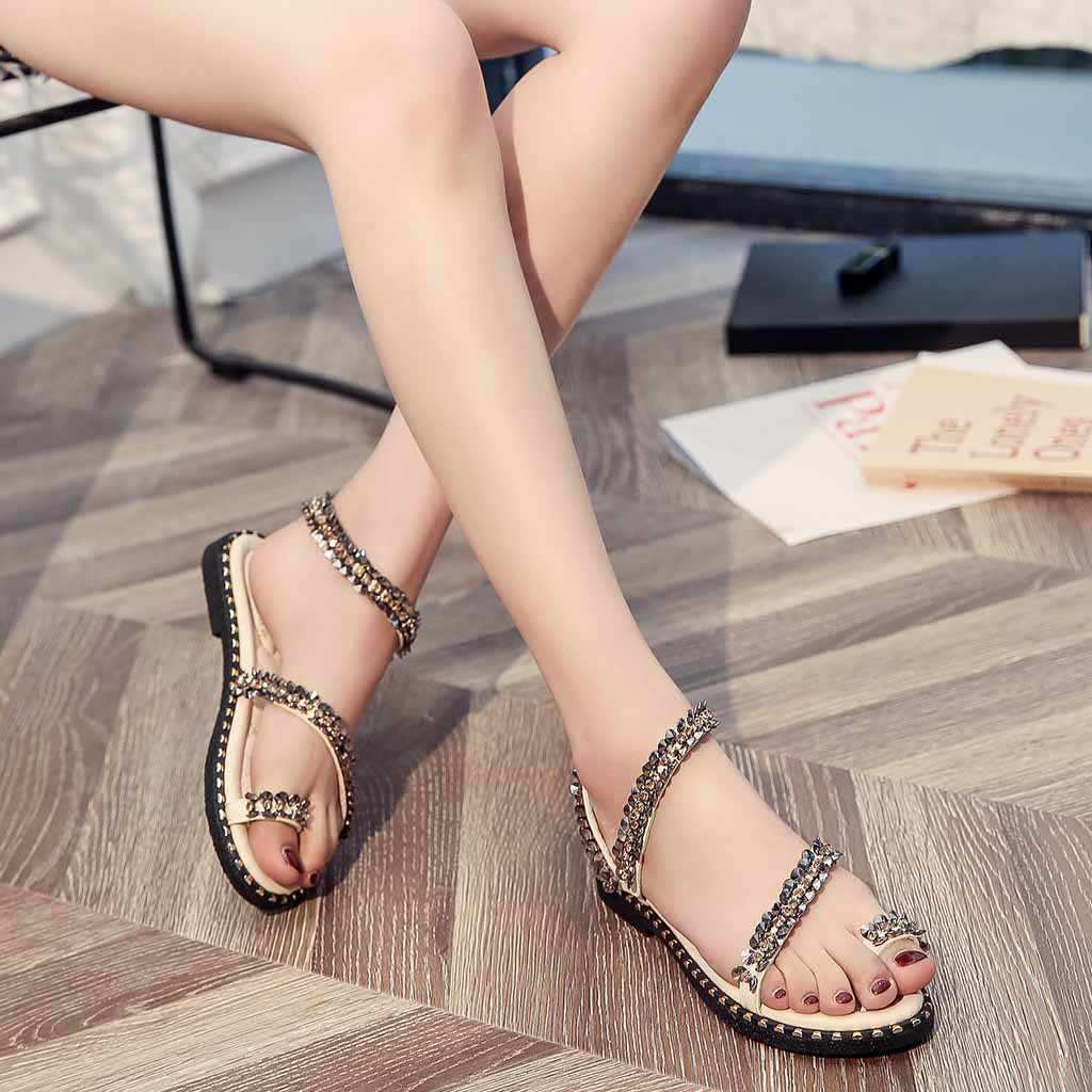 f0543ca30004 ... YOUYEDIAN Women Flat Sandals 2019 Crystal Gladiator Sandals Women Bling  Summer Beach Shoes Casual Ladies Sandals ...