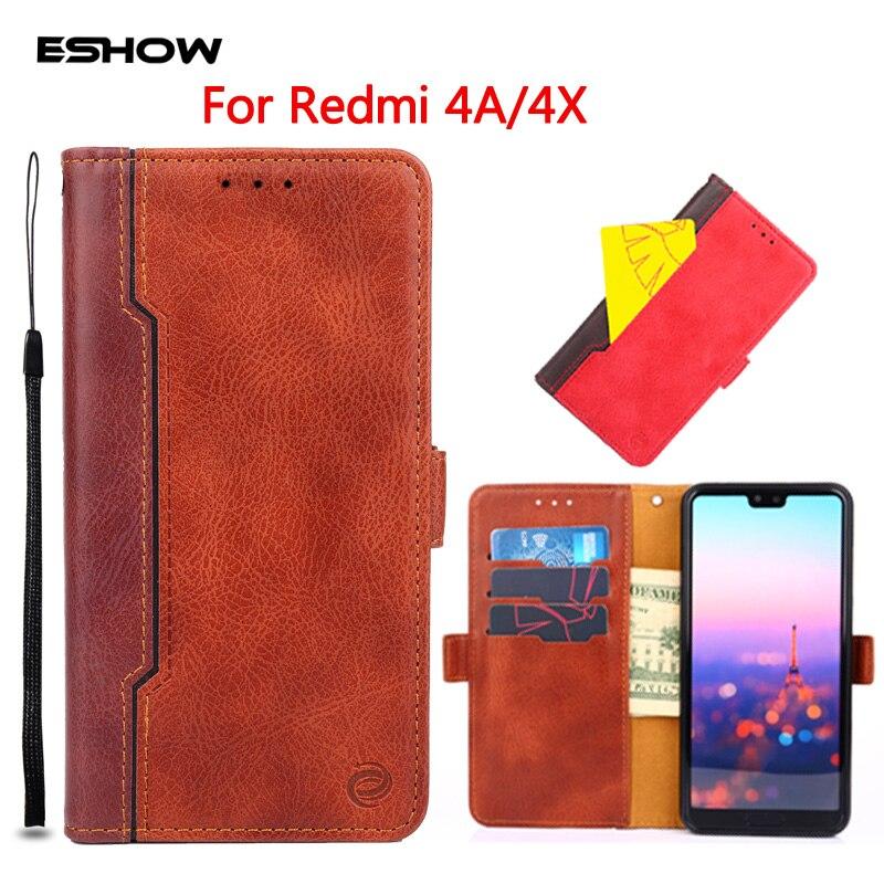 ESHOW 5.0 pouce Cas pour Xiaomi Redmi 4A 4X Contraste Couleur Épissage Portefeuille Livre Cas PU Cuir Flip Silicone Anti -choc Shell Sac