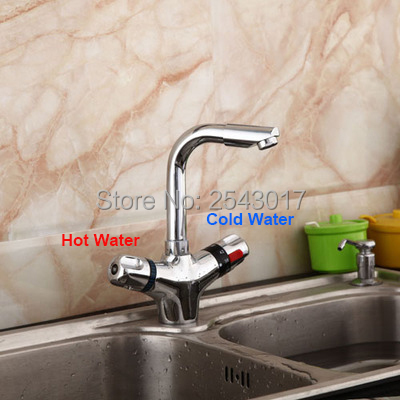 Kitchen Swivel Faucet Chrome Finish Dual Handle Adjust Temperature Deck Mounted Basin Grifo Termostatico ZR983