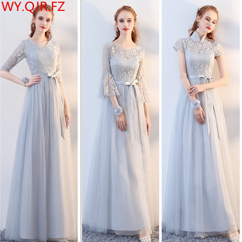 SJZL70#Grey Long Half Sleeve Round Collar Lace Up Plus Size Bridesmaid Dresses Wedding Party Prom Dress Ladies Fashion Customize