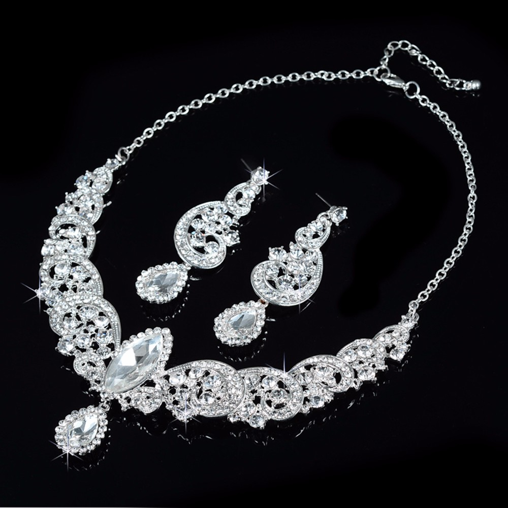 silver plated princess jewelry sets austria crystal round necklace earrings dangle women water drop figure design AAA jewels D021 (2)