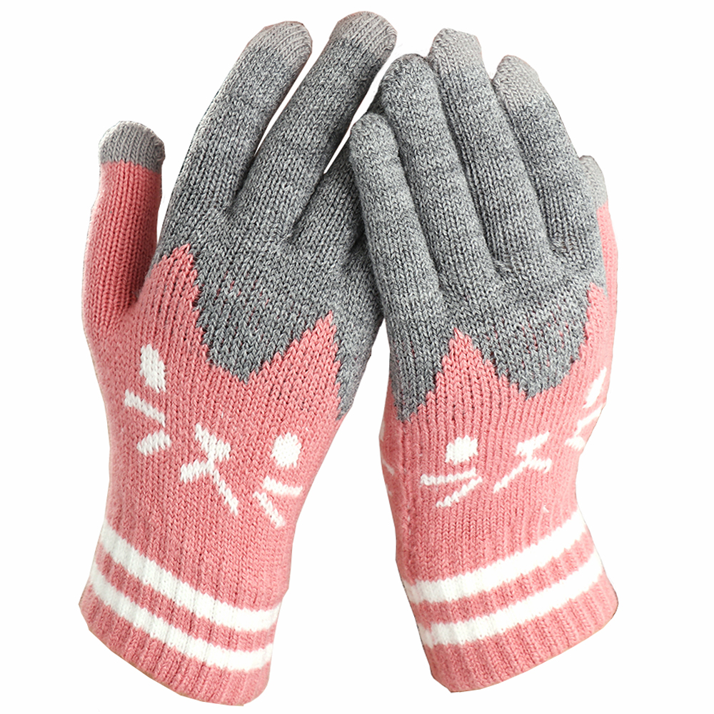 Winter Fashion Touch Screen Gloves Women Girl Cute Cartoon Cat Printed Wool Knitted Full Finger Mittens For Girls Christmas