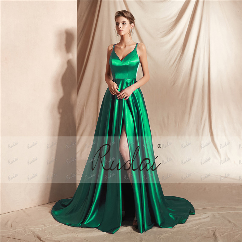 Sexy Evening Dress Long V Neck A-Line Prom Dress 2019 with Slit Spaghetti Straps Formal Party Gown Dress Robe de Soiree SN17
