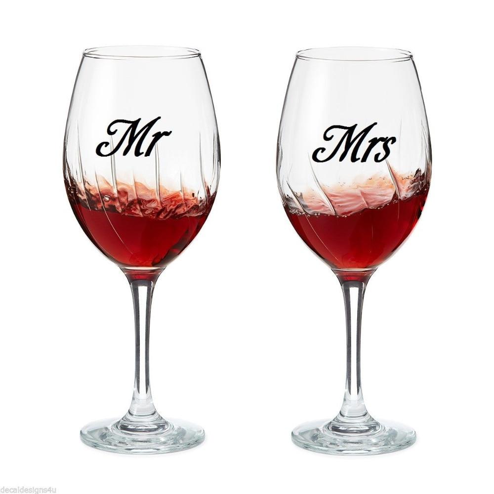 Set Of Mr & Mrs Wine Glass Jar Wedding Stickers Vinyl Removable  Kitchen Wall