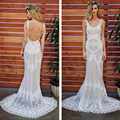 2017 Lace Mermaid Wedding Dresses NEW HOT Holy Robe de mariage Backless White Wedding Bridal Gowns Long Train Perals Bride Dress