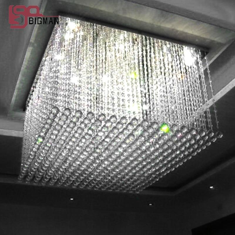 modern square crystal chandelier lighting lustre living room lamp LED Light  length 50cm modern crystal chandelier led hanging lighting european style glass chandeliers light for living dining room restaurant decor