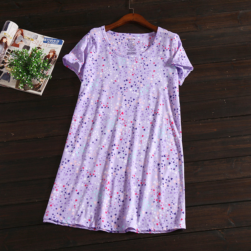 Summer sexy 100% cotton women sleepdress short sleeve cute cartoon stars purple sexy nightgowns casual sleepwear women