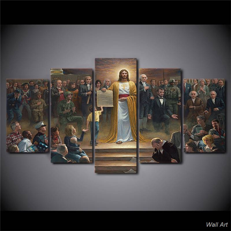 Hd Printed 5 Piece Canvas Art Classic Painting Jesus Christ Returns To Earth Christian Wall Decoration Free 92570 YP In Calligraphy From Home