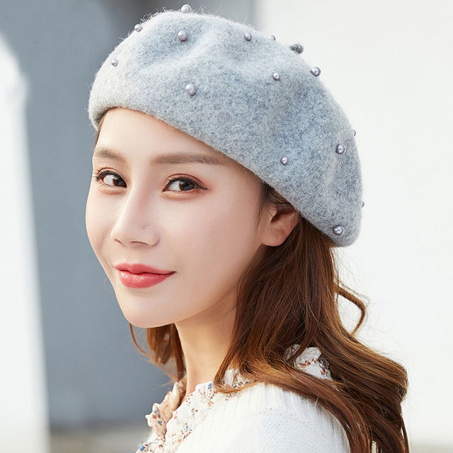 73e4118a362c7 HT1993 High Quality Women Wool Hat Fashion Pearls Autumn Winter Hat for  Women Wool Berets Ladies Painter Artist French Beret Hat