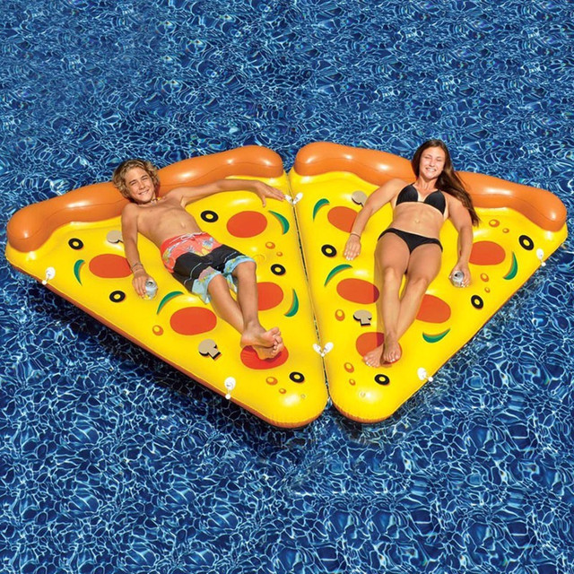 Inflatable Water Float Summer Holiday Inflated Pizza Swimming Pool Float Rideable Raft Beach Leisure Air Mattress Party Supplies