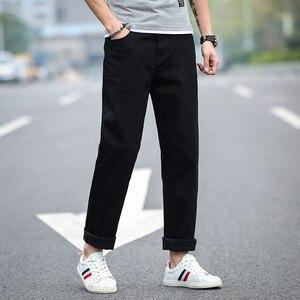 Image 2 - 2020 חדש גברים של קלאסי ישר שחור ג ינס אופנה עסקים מקרית אלסטי רופף מכנסיים זכר מותג מכנסיים בתוספת גודל 40 42 44