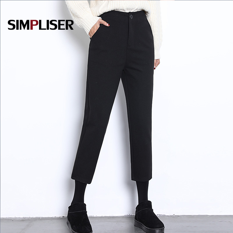 2018 New Women   Pants   Ankle Length   Capri     Pants   Black Plaid Grey Trousers Female Office Work   Pants   Mid Waist Femme Pantalon