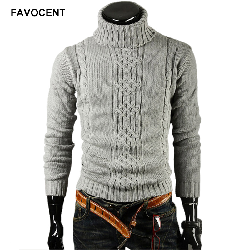 FAVOCENT Male Sweater Pullover Men 2018 Male Brand Casual Slim Sweaters Men Solid High Lapel Jacquard Hedging Men'S Sweater XXL