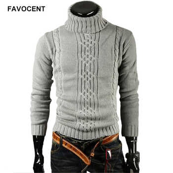 FAVOCENT Male Sweater Pullover Men 2018 Male Brand Casual Slim Sweaters Men Solid High Lapel Jacquard Hedging Men'S Sweater XXL - DISCOUNT ITEM  25% OFF All Category